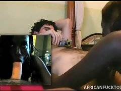 Slutty African babe tastes her pussy juices from lover`s dick.